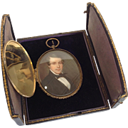 Portrait Miniature With Gold Case And Fitted Box 19th C.