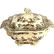 Transferware 'Royal Sketches' Sauce Tureen With Lid C. 1830's