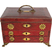 Regency Red Leather Work and Sewing Box Early 19th c. England