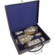 Dresser Set English Sterling Leather Case Circa 1894