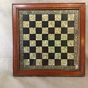 Game Board Reverse Painted Victorian