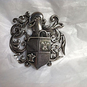 Large Los Castillo Medieval Design Sterling Pin - Armored Knight and Crest