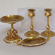 French Gilt Bronze Enamel Set- Candlesticks, Taza and Card Tray