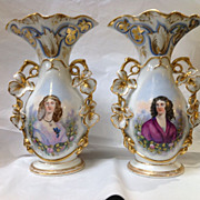 Pair of Large Old Paris Vases with Portraits