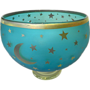 Moon and Stars Gilt Decor Glass Bowl Murano Signed
