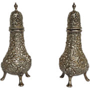 Kirk Sterling Pair Repousse Salt and Pepper