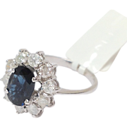 Blue Sapphire Ring Diamond White Gold
