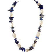 """Lapis And White Agate Beaded Necklace 14k 26"""""""