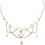 14K Festoon Necklace with Emeralds