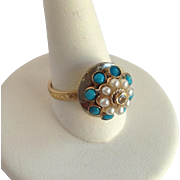 Diamond Turquoise And Pearl Dome Ring 14k Size 6.5
