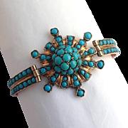 Turquoise Sunburst Rose Gold Bangle Bracelet 9k