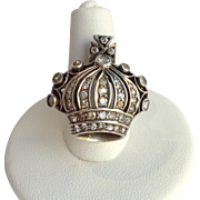 Crown Diamond Ring Gold and Sterling