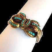 Turquoise Bow Bangle Bracelet Antique 9K and Gold Filled