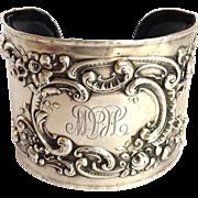 Antique Sterling Cuff Bracelet Gorham Artisan Made Leather Lining