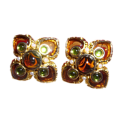 Vintage Jose & Maria Barrera Golden Brown and Green Clip Earrings