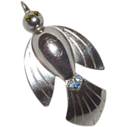 SALE Vintage Signed Coro Silver Tone Bird with Rhinestones