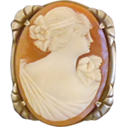 Vintage Edwardian Signed Ostby & Barton Hand Carved Shell Cameo Brooch