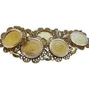Vintage 14K Yellow Gold Filigree/Coin Bracelet