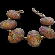 Vintage Foiled Faux Opal Lucite Bracelet