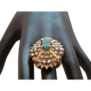 Emerald and Diamond 14 Karat Yellow Gold Ring