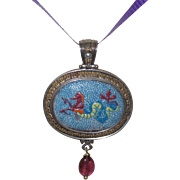 Greek Inspired Pink Tourmaline, Pearl, Porcelain and Sterling Pendant
