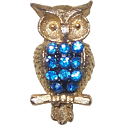 Signed Blue Rhinestone Owl by Jonette Jewelry