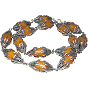 Vintage Baltic Amber Necklace in Silver