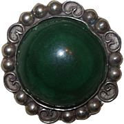 Signed Taxco Green Onyx Brooch
