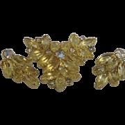 SALE Vintage Verified Juliana Lemon Citrine Earrings With Matching Brooch