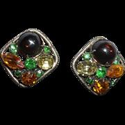 SALE Vintage Designer Quality Cabochon Clip Earrings
