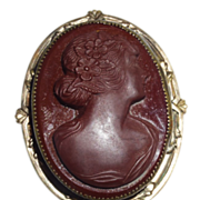 Vintage Glass Cameo-Victorian Revival Terra Cotta Color