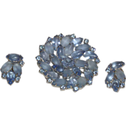 Vintage Juliana Frosted Blue Rhinestone Brooch with Earrings