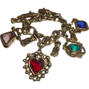 SALE Vintage Charm Bracelet With Faceted Glass Stones