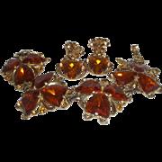 Vintage Signed Schiaparelli Bracelet and Earrings in Bronze Colored Rhinestones
