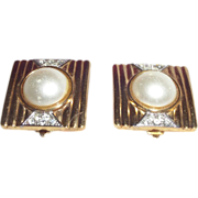 Vintage Signed Lanvin Germany Earrings with Simulated Pearls
