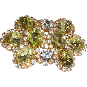 Vintage D&E Juliana Lemon Citrine Rhinestone Belt Buckle