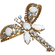 Vintage Designer Quality Dragonfly Brooch with Milk Glass and Rhinestones