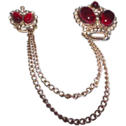 Vintage Crown Motif Chatelaine with Ruby Red Cabochon