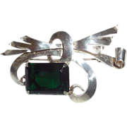 SALE Vintage Signed Walter Lampl Sterling Brooch with Large Emerald Glass Stone