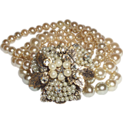 Vintage Unsigned Miriam Haskell Four Strand Faux Pearl Bracelet