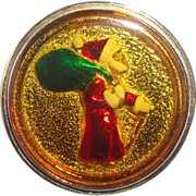 Vintage Santa Red and Green Enamel Pin/Pendant