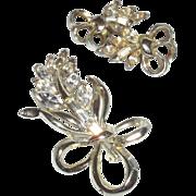Vintage Signed Pell Brooch and Earrings in a Rhinestone Leaf Motif