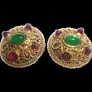 Vintage Signed Chanel Etruscan Revival Earrings