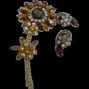 Vintage Juliana Sunflower Brooch and Earrings