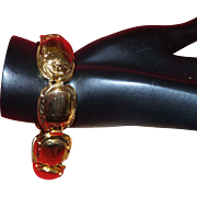 Signed Kenneth Jay Lane Scarab Bracelet In Gold Tone Metal
