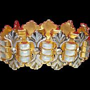 Vintage Mother of Pearl and Damascene Bracelet