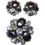1950s' Unsigned Original By Robert Simulated Baroque Pearl Brooch With Earrings