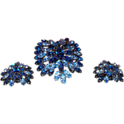 Signed Schreiner Brooch and Earrings in Blue Rhinestones