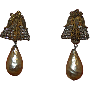 Signed Miriam Haskell Earrings With Simulated Baroque Pearl Dangles