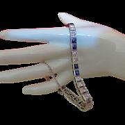 SALE Vintage  20K White Gold Diamond and Sapphire Bracelet